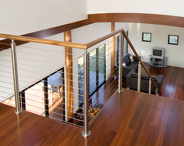 Large image of Upstairs landing of Premium Grade Forest Red Floor looking down to main living area