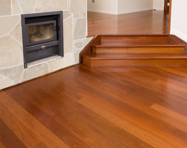 Large image of Premium Grade Forest Red Overlay Floor featuring a fireplace