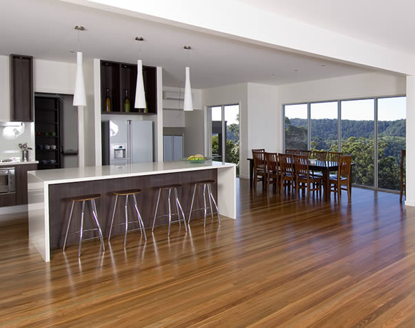 Large image of Main Kitchen and Dining area featuring a premium grade spotted gum floor